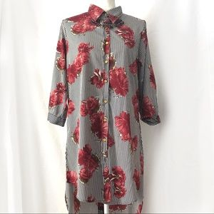 Red Floral Black Stripe Button Down Tunic Top